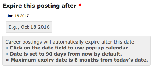 Career posting expiry date edit screen