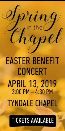 Spring in the Chapel Easter benefit concert on April 13, 2019 at 3pm Tickets available